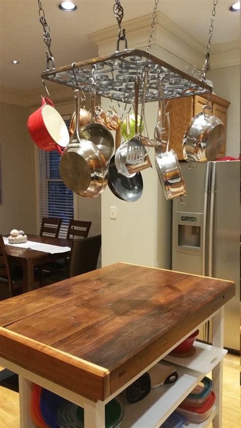 Rustic hanging pot & pan rack for your kitchen