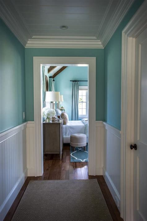 Gorgeous Blue Hallway With White Wainscoting | HGTV