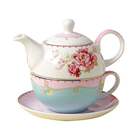Jusalpha Fine Bone China Teapot for One, Rose Teapot and