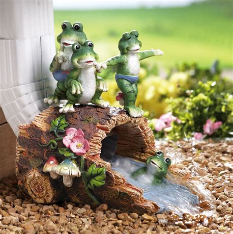 Group Of Frog Children On Log Decorative Garden Downspout