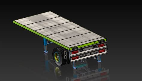 Flat Bed Trailer Single Axle | 3D CAD Model Library | GrabCAD