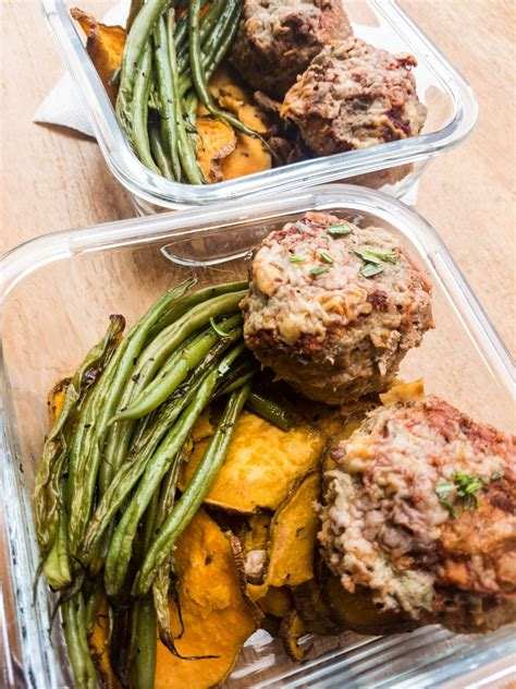 Mini Meatloaf Meal Prep with Green Beans and Sweet Potatoes