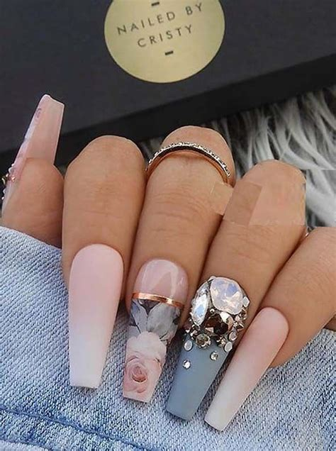 22 Matte French Ombre, Blue-Grey & Crystals on Long Coffin