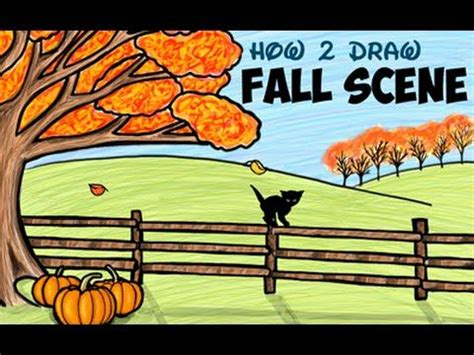 Drawing: How to Draw An Autumn Or Fall Scene for Kids