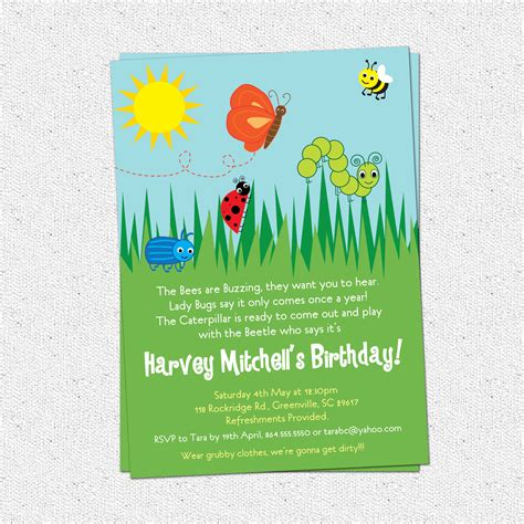 Bug Insects Birthday Party Invitations, Summer, Butterfly