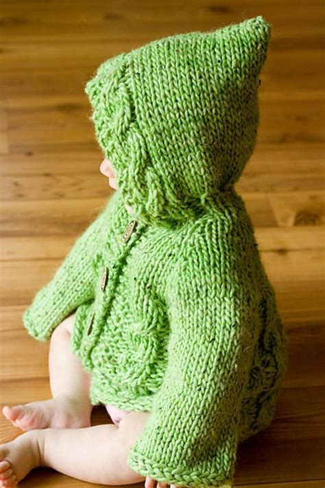 Items similar to PDF Knitting Pattern Hooded Baby Sweater
