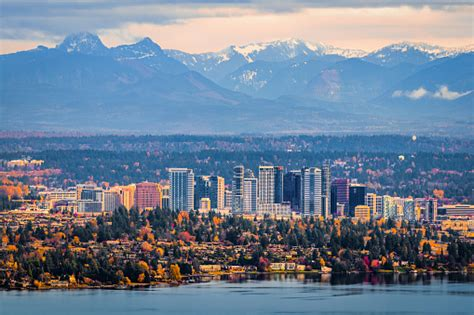 Aerial View Of Bellevue Washington Stock Photo - Download