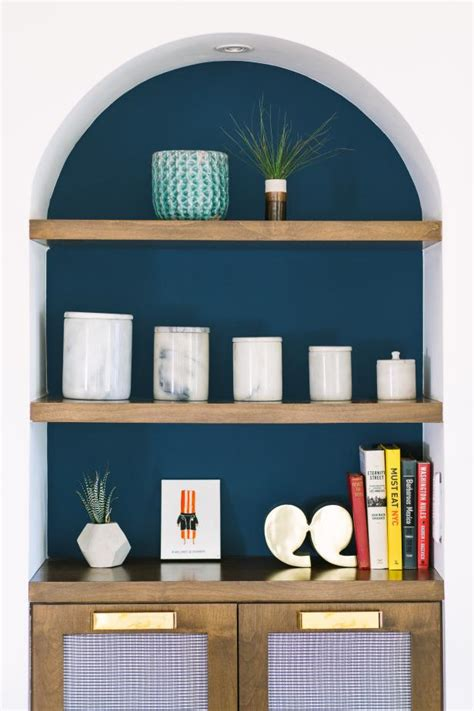 Arch Bookshelf With Navy Interior, Wood Shelves and