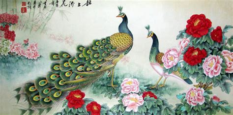 Chinese Peacock Peahen Painting Peafowl 2735003, 69cm x