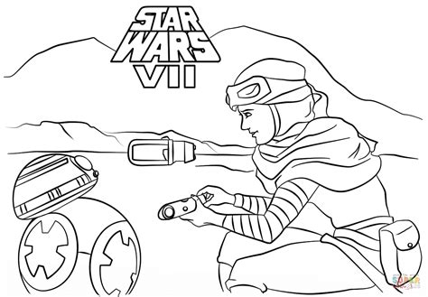 Rey and BB-8 coloring page | Free Printable Coloring Pages