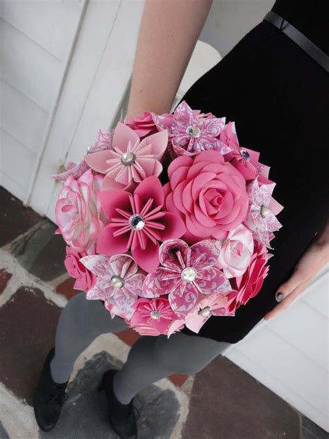 Items similar to Large Rose Paper Flower Bridal Bouquet