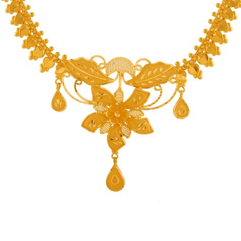 Simple Gold Flower Necklace for Women | PC Chandra Jewellers