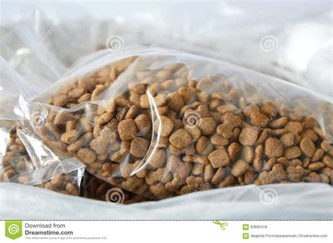 Dog Food Plastic Bag Packing For Sale In Pet Shop Stock